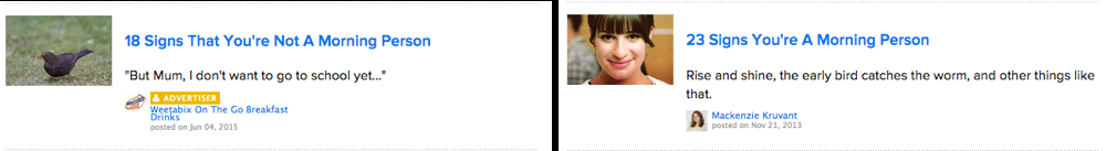 Figure 3. Examples of how the same website can appeal to opposite persona groups.