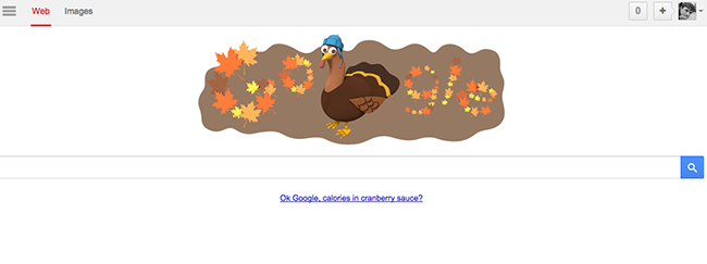 "Figure 1. Google user interface inviting natural language question, ""Calories in cranberry sauce?"""