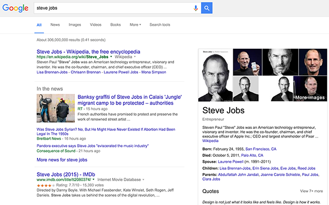 Figure 2. Google search engine results page showing images, contact information, latest news, Wikipedia data, etc.
