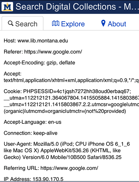 Figure 5. Screenshot of search interface with HTTP header and GLOBAL system variables showing from mobile device view.