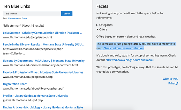 Figure 11. Screenshot of facet noting time in semester and pushing a library browse collection.