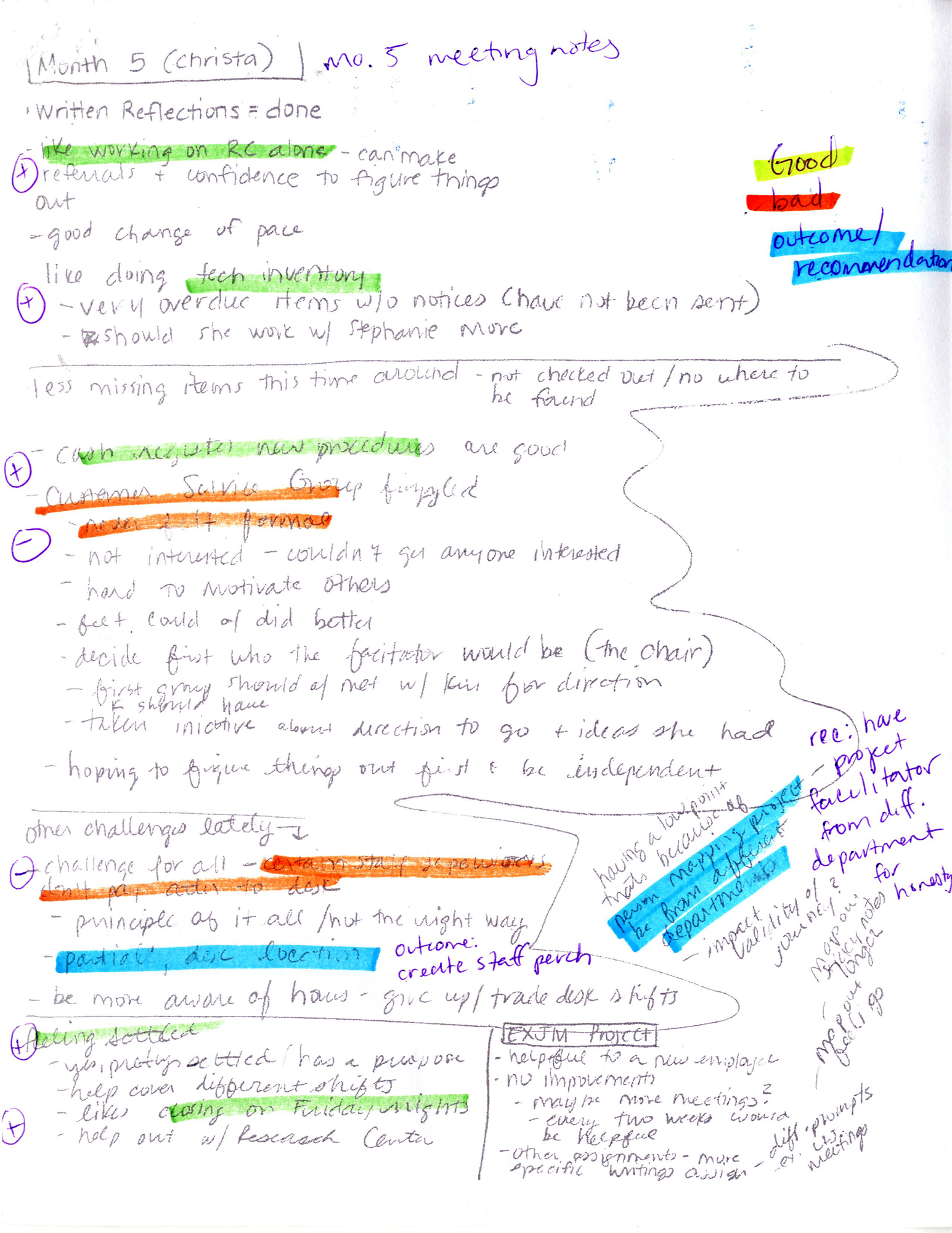Figure 3. Examples of our meeting notes as project facilitators after highlighting and review (used with permission).
