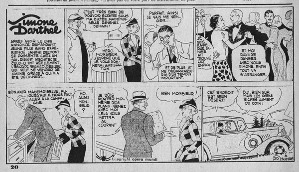 "Figure 3. ""Simone Darthel"" in its later format, six-panel black and white. Confidences, 1, no. 30 (2 December 1938), 20."
