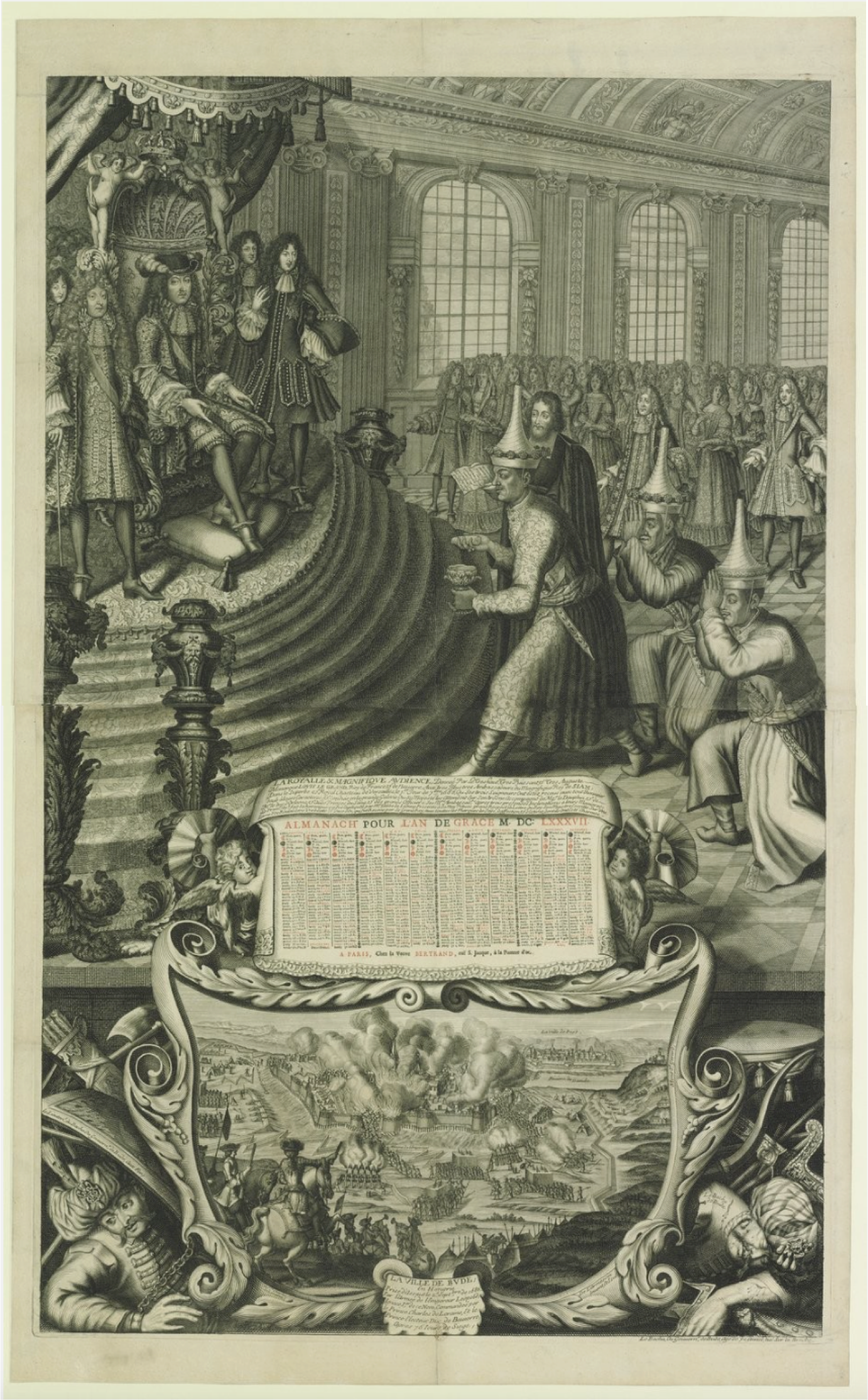 Fig. 2 : Nicolas de Larmessin II, The Royal and Magnificent Audience Given by [...] Louis the Great, King of France and Navarre, to the Very Illustrious Ambassadors of the Magnificent King of Siam [...], published by Veuve Bertrand, 1687. Engraving and etching, 90 x 56.2 cm. Paris: Bibliothèque Nationale de France, Estampes, Collection Michel Hennin, inv. 5550. Reproduced with permission.