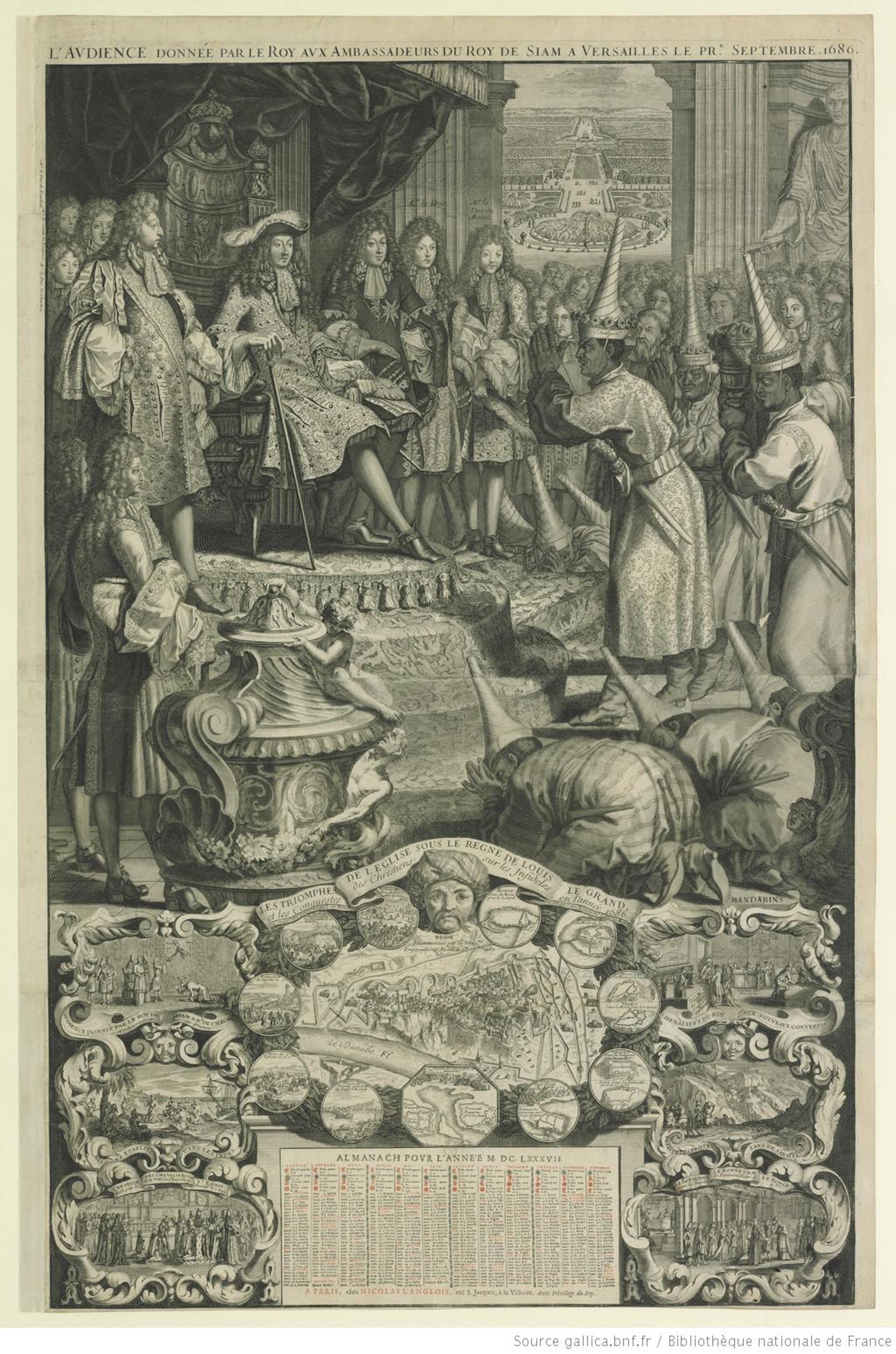 Fig. 6 : The Audience Given by the King to the Ambassadors of the King of Siam at Versailles on the first of September, 1686, published by Nicolas Langlois, 1687. Engraving and etching, 86.6 x 56.3 cm. Paris: Bibliothèque Nationale de France, Estampes, Collection Michel Hennin, inv. 5551. Reproduced with permission.